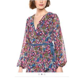NWT Betsy Johnson  cherry print wrap dress size 14